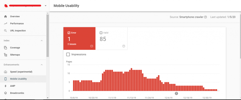 Search console mobile usability report