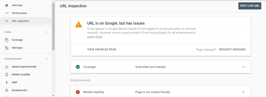 search console url inspection report